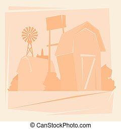 casa, paesaggio, silhouette, fattoria, terreno coltivato, campagna