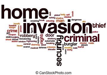 casa, parola, nuvola, invasione