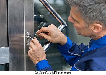casa, porta, maschio, manico, lockpicker, quotazione