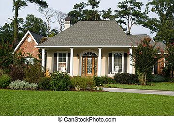 casa, prato, bello, landscaped