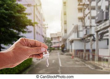 casa, presa a terra, chiavi, fondo, mano