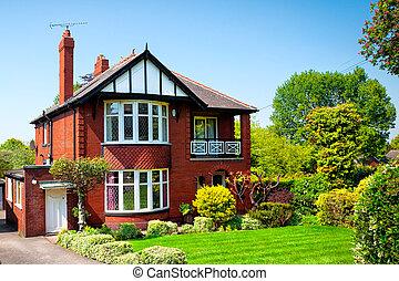 casa, primavera, tipico, inglese giardino