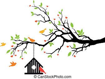 casa, primavera, vettore, uccello, albero