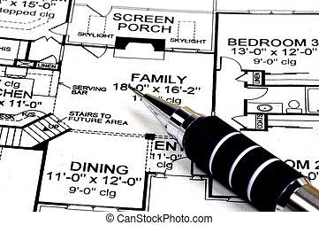 casa, progetti, matita