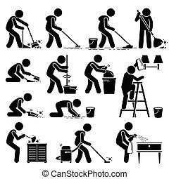 casa pulizia, pulitore, lavaggio