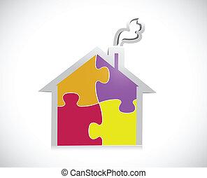 casa, puzzle, disegno, illustrazione