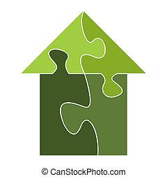 casa, puzzle, fuori, costruito, pezzi