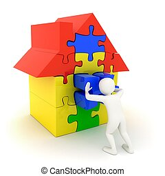 casa, puzzle, spinta, posto, bianco, pezzo, uomo
