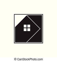 casa, quadrato, vettore, geometrico, logotipo