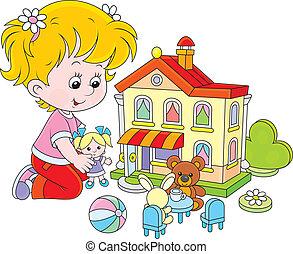 casa, ragazza, giocattolo, bambola