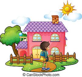 casa, ragazzo, rosa, fronte, grande