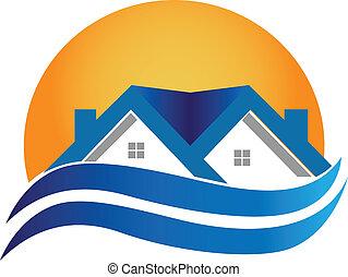 casa, reale, -, logotipo, vettore, proprietà