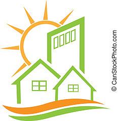 casa, residenziale, verde, sole