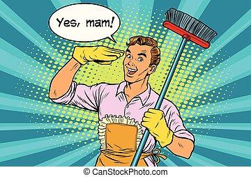 casa, sì, mam, pulizia, marito