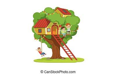 casa, scala, bambini, bambini, divertimento, albero, treehouse, gioco, vettore, illustrazione, altalena, campo di gioco, ragazzi, detenere