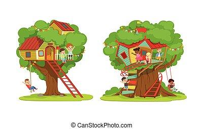 casa, scala, bambini, divertimento, albero, treehouse, gioco, vettore, illustrazione, ragazze, altalena, collezione, campo di gioco, ragazzi, detenere