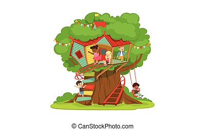 casa, scala, bambini, divertimento, bambini, albero, treehouse, gioco, vettore, ragazzi, illustrazione, felice, altalena, ragazze, campo di gioco, carino, detenere
