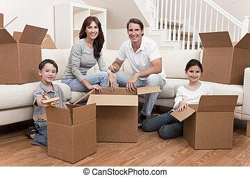casa, scatole, spostamento, famiglia, disimballaggio