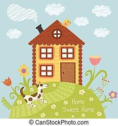 casa, scheda, dolce
