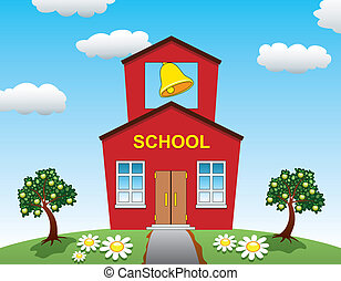 casa, scuola, mela, albero