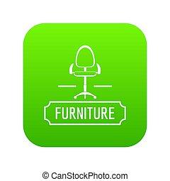 casa, sedia, verde, icona