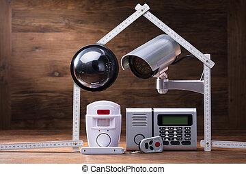 casa, sicurezza, concetto, sistema