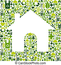 casa, simbolo, ambientale, icone