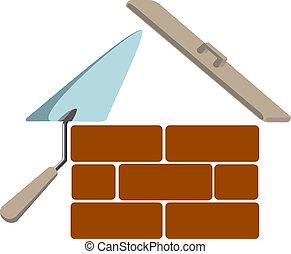 casa, simbolo, vettore, costruzione