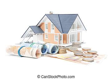 casa, soldi, -, finanze, casa