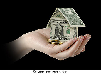 casa, soldi, mano