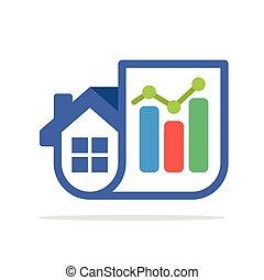 casa, statistica, vendite, combinazione, icone, rapporti, &, illustrazione