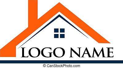 casa, tetto, nome, illustrazione, logotipo