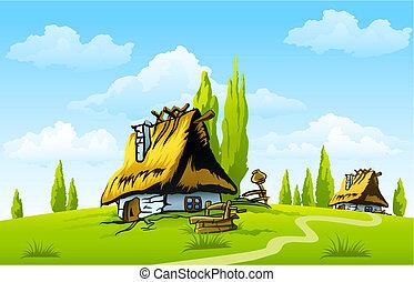 casa, vecchio, paesaggio, villaggio