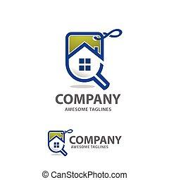 casa, vettore, vendite, logotipo