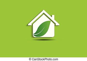 casa, vettore, verde, logotipo