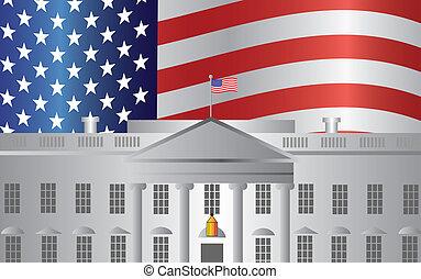 casa, washington dc, ci bandiera, fondo, bianco