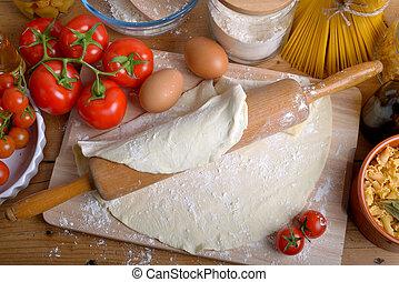 casalingo, ingredienti, italiano, pizza