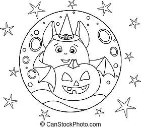 casato, carino, cricco, pieno, fondo, cappello, zucca, illustrazione, pipistrello, coloring., luna, cappello strega, lanterna magica, halloween, lineare, -, grasso, stelle pipistrello