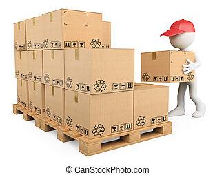 casato, scatole, ragazzo, persone., impilamento, 3d, bianco