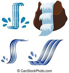 cascate, differente, set, icone