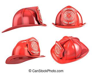 casco, angoli, vario, pompiere