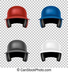 casco, classico, isolated., set., eps10., realistico, vettore, baseball, sagoma, fronte, disegno, vista.