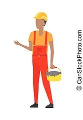 casco, costruttore, secchio, uniform., cemento