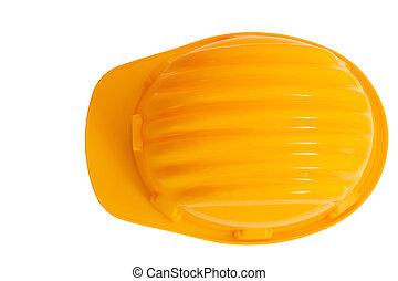 casco, costruzione, fondo, isolato, vista, protezione, cima, sicurezza, bianco
