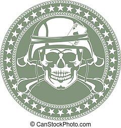 casco, emblema, cranio, militare