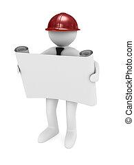 casco, immagine, isolato, fondo., bianco, ingegnere, 3d