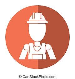 casco, lavoro, appaltatore, professionale, uggia, uniforme, uomo