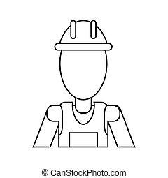 casco, lavoro, uniforme, magro, professionale, linea, appaltatore, uomo