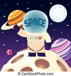 casco, luna, sistema solare, spazio, pianeta, astronauta, cartone animato