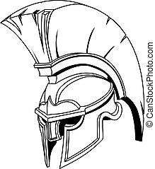 casco, o, trojan, spartan, greco, illustrazione, romano, gladiator
